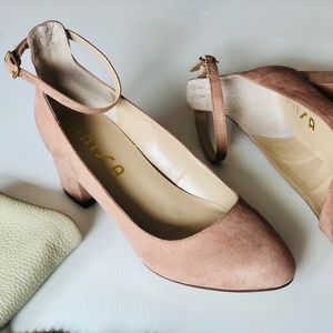Unisa high back blush pink block heel with strap